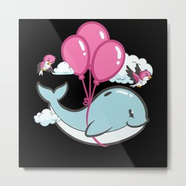 Whale on balloons flies through clouds with birds Metal Print