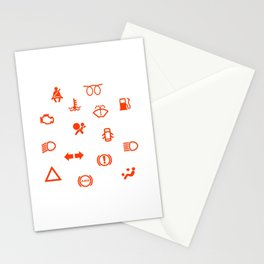 Vehicle Dash Warning Symbols Stationery Cards