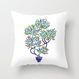 Bonsai Fruit Tree – Blue Palette Throw Pillow