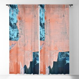 Delight [3]: a vibrant minimal abstract painting in blue and coral by Alyssa Hamilton Art Blackout Curtain