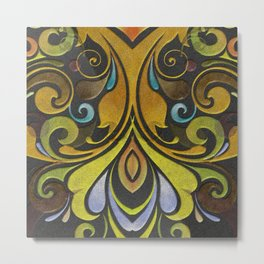 Brown and Gold Swirls Metal Print