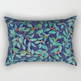 Leaves + Berries in Navy Blue, Teal & Tangerine Rectangular Pillow