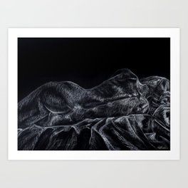 Nude Female Resting on Side Art Print