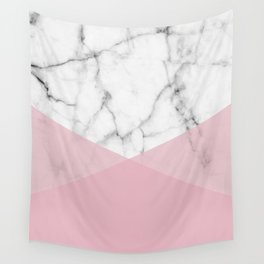 Real White marble Half Rose Pink Modern Shapes Wall Tapestry