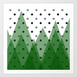 Christmas mountains Art Print