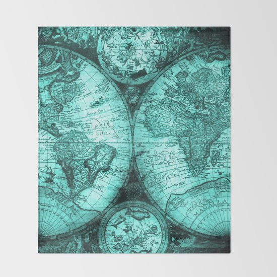 Vintage Turquoise Green Map Design by mapmaker