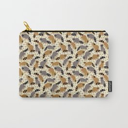 Adorable Racoon Friends, Animal Pattern in Nature Colors of Grey and Brown with Paw Prints Carry-All Pouch
