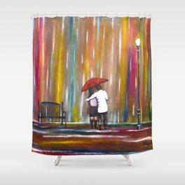 Love in the Rain romantic painting by Manjiri Kanvinde Shower Curtain