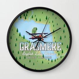 Grasmere English Lake District vintage map Wall Clock