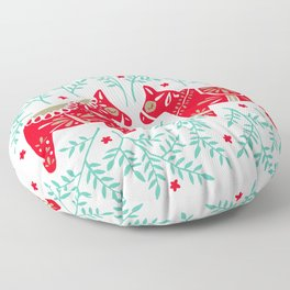Swedish Dala Horses – Red & Mint Palette Floor Pillow