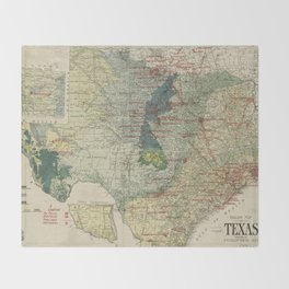 Vintage Map of The Texas Oil and Gas Fields (1920) Throw Blanket