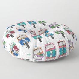 Thailand Tuk Tuks in a Row Pattern Floor Pillow
