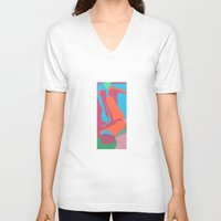nudes V-neck T-shirts featuring three nudes by design lunatic