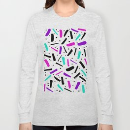 Neon colored confetti design in pink, black, purple and cyan colors Long Sleeve T-shirt