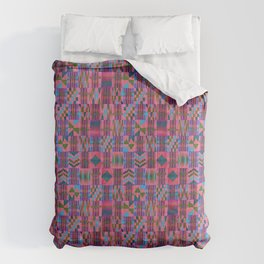Kente Cloth // Summer Sky & Venetian Red Comforters