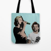 larry stylinson Tote Bags featuring Pop Art Larry Stylinson  by JodiYoung