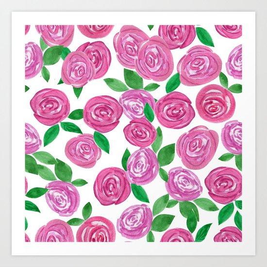 Watercolor red roses. Art Print