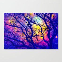 Black Trees Deep Bright & Colorful Space Canvas Print