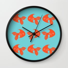 Orange Fish Art Wall Clock