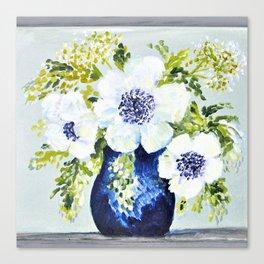 Anemones in vase Canvas Print