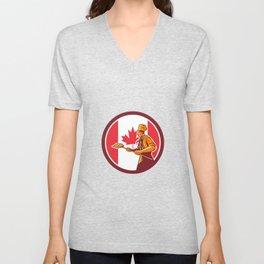 Canadian Pizza Baker Canada Flag Icon Unisex V-Neck