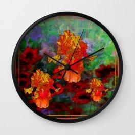 Golden Floral Iris Fantasy Garden Puce Color Design. Wall Clock