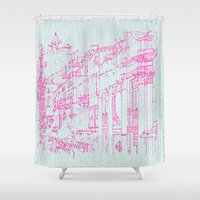 radiohead Shower Curtains featuring Down with the fishes by anipani