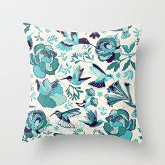 Hummingbird summerdance, Blue Throw Pillow