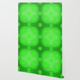 Green Color Burst Floral Wallpaper