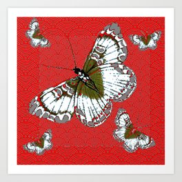 DECORATIVE WHITE & RED PATTERN BUTTERFLIES FROM   SOCIETY6 BY SHARLESART. Art Print
