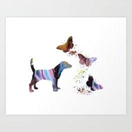 Beagle And Butterflies Art Print