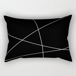 Black and White Minimalist Lines Rectangular Pillow