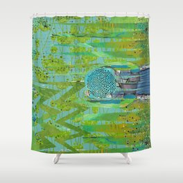 Green Turquoise Jagged Abstract Art Collage Shower Curtain