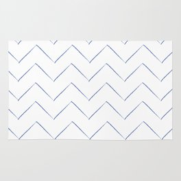 Blue Waves Crayon Chevron Stripes Rug
