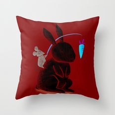 Bunny Rider Throw Pillow