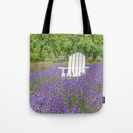 White Chair in a Field of Purple Lavender Flowers Tote Bag
