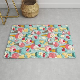 Ice wafers with strawberry ice cream on light blue Rug