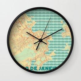 Rio de Janerio Map Retro Wall Clock