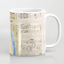 Blue Bird Music Collage Shabby Chic Coffee Mug