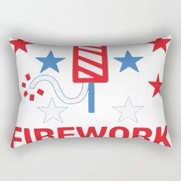 FIREWORK TECHNICIAN RED WHITE AND BLUE T-SHIRT Rectangular Pillow