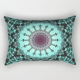 Bright Teal Black Bohemian Mandala Rectangular Pillow
