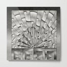 Mercury Glass Art Deco Sunburst Metal Print