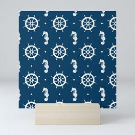 Seahorse and Ship Wheel Pattern Mini Art Print