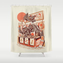 Kaiju street food Shower Curtain