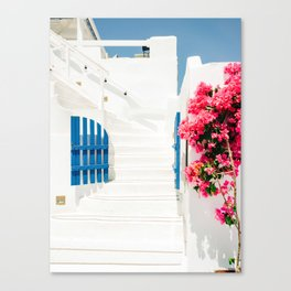 Colorful Blue Gate and White Staircases in Oia Santorini Island Greece Canvas Print