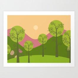 Kawai landscape breaking Dawn Art Print