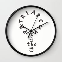 patriarchy Wall Clocks featuring Crush the patriarchy by Mikaela Puranen