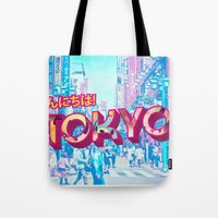 tokyo Tote Bags featuring Tokyo by nicole martinez
