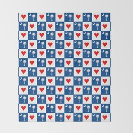 flag of south carolina with hearts Throw Blanket