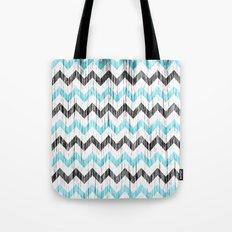 Grunge Chevron black/white/cyan Tote Bag